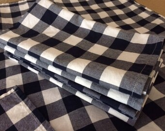 Navy Blue and White Gingham Cloth Napkins, Buffalo Check - GREAT for Weddings, Parties, Everyday Meals by CHOW with ME