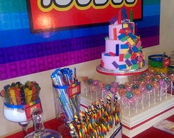 Rainbow Blocks Backdrop - Party Printable Sign - DIY Print - Custom design for candy buffet, dessert buffet, dessert table, building blocks