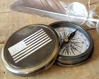 Engraved Brass Compass With American Flag