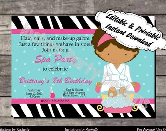 Spa Invitation Birthday Party - Editable Printable Digital File with Instant Download