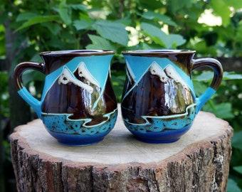 Mug Mountain are calling Hiker gift Nature lover gift Ceramic mug set of 2 mountain mug Birthday gift for husband, boyfriend, sister, father