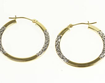 10k Two Tone Studded Lattice Textured Hoop Earrings Gold