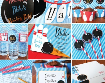 INSTANT DOWNLOAD, Bowling Boy Birthday Printable Party Package ,Red, Blue, Orange, You Edit in Adobe Reader