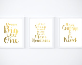Baby Girl,Nursery Set of 3 foil Prints, nursery decor, nursery prints, prints for nursery, baby girls room decor