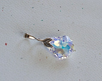Swarovski Baroque AB Crystal Pendant Sterling Silver Prong Leaf Bail Pendant, 1 Piece