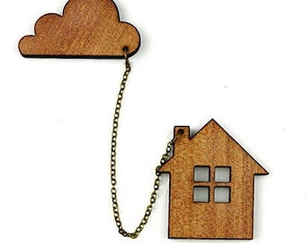 """Natural wood brooch """"House and cloud"""" Kit"""