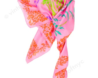 Vintage 1960s Deadstock Pink Scarf - Fine Silk Gauze Scarf with Matisse Inspired Pattern - 1960s Scarf