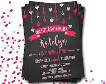 Valentines Birthday Invitation, Heart Birthday Invitation, Valentine Birthday, Chalkboard Invitation, DIY Printable