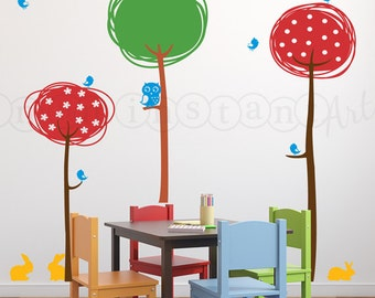 Owl and Tree Wall Decal, Abstract Trees with Owl, Birds and Bunnies, Tree Vinyl Wall Decal for Nursery, Kids, Childrens Room 097