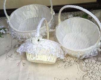 3 Wedding Baskets, set of baskets, flower baskets, favor baskets, baptism Basquet, gift baskets, communion favor baskets