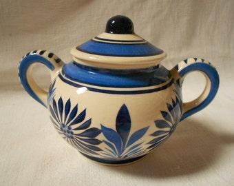 HB Quimper poterie peinte à la main bleu Floral sucrier (A964)