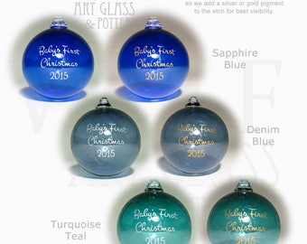 Personalized Ornament Custom Etched Blown Glass Ball Christmas Ornament