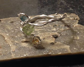 Multistone Aquatones Silver Ring, Peridot and Tourmaline Ring, OOAK Ring