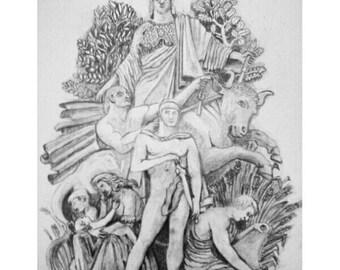 La Paix De 1815 from the Arc De Triomphe Bas Relief. A3 Graphite Pencil Drawing.