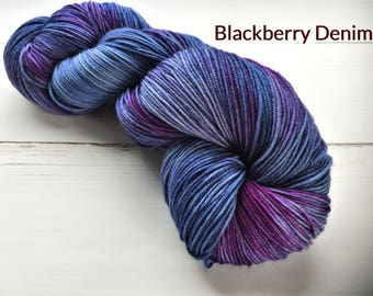 Blackberry Denim - Sock - Hand dyed yarn, 75/25% superwashed merino wool /nylon