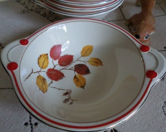 Very Rare TST-Taylor Smith Taylor Autumn-Red/Yellow Leaves/Platinum/Red Trim-Lugged/Tabed/Handled Cream Soup Bowls