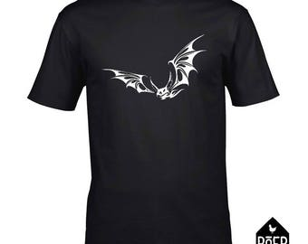 Bat, T-shirt, white or black, size S/M/L/XL