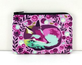 Fox Zipper Pouch - Fox Coin Purse - Purple Pouch - Fox Lover Gift - Mini Wallet - Padded Change Purse - Lunch Money Pouch