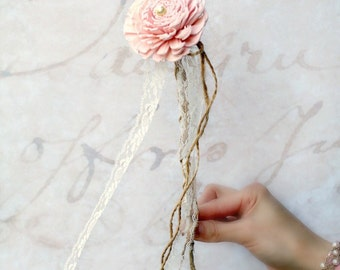 Pink Flower Girl Wand // Little Girl, Children's, Wedding Flower, Floral Wand, Single Flower, Pink, Blush, Sola Wood Flower, Burlap, Lace