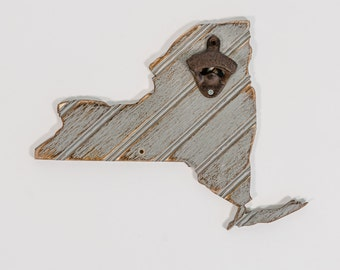 New York Gray Bead Board Bottle Opener, all states and colors available, gift for dad
