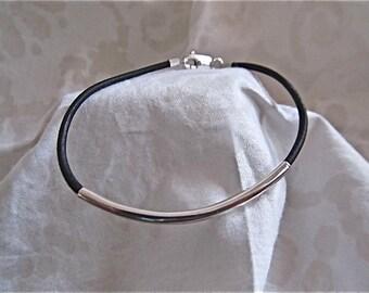 Sterling silver and leather bracelet or anklet