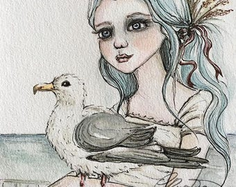 Watercolor Seascape Portrait, On The Boardwalk, Limited Edition Signed Print, Size 8x10, Ink Illustration, Fine Art Print, Girl with Seagull