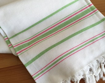 NEW - White with green and pink stripes