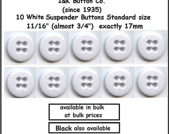 "10 White Suspender Buttons ~3/4"" (17mm) Standard Size 11/16"" also in bulk qty"