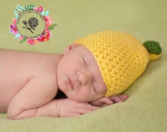 Crochet Pattern Lemon Beanie - PDF - Instant Digital Download (Newborn - Adult)