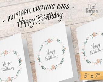 Printable Birthday Card for Mom, Shabby Chic Birthday Card, Floral Card Printable Flower Wreath Card Happy Birthday Card Printable bday Card