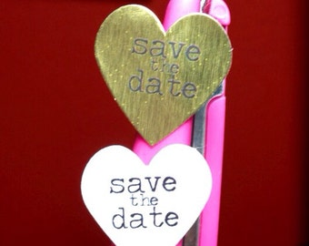 100 Save the Date mini Heart Seals / Stickers -You Pick Color (kraft, red, pastel pink, white)