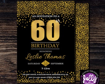 60th Birthday Invitation, Sixty Birthday Party, Surprise Birthday Invite, Sixty & Fabulous Invite, Birthday Invitation, 60th Birthday Bash
