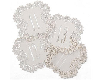 Table Numbers White Shimmer Laser Cut Wedding Reception Table Number Cards 11 To 20