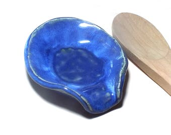 Large Ceramic Spoon Rest Space Saving Design Deep Blue Kitchen Housewares Cooking Spoon Clean Living Hostess Gift Practical OOAK Mothers Day
