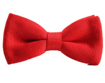 Knit Bowtie.Red Knitted Bow Tie,Bowtie for Wedding,Party.GiftsWedding Bowties.