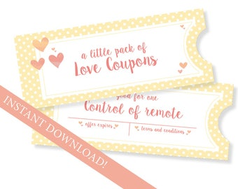 Love coupons for him, love coupon book, instant love coupons, printable coupons, gift for him, gift for her, love coupons