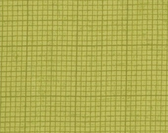 Sale Fabric Basic Grey Graph Paper in Green from the Origins Collection 1/2 Yard
