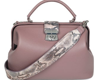 Leather Top Handle Bag, Lilac-gray Leather Handbag Top Handle, Women's Leather Bag KF-1601