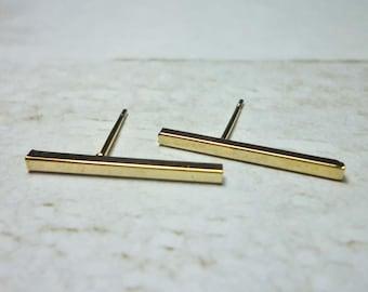 Long Bar Stud Earrings, Dainty Earrings - Gold