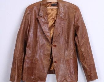 Essentiel Womens 44 XXL Jacket Blazer Single Breasted Camel Leather