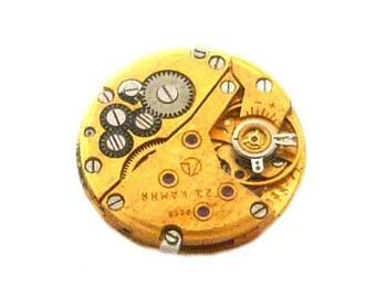 1 vintage 22mm gear steampunk watch movement mechanism gold gilt (rare)