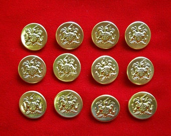 12 Gold Tone Metal Shank Buttons with Heraldry Crest Shield for Renaisance Costume