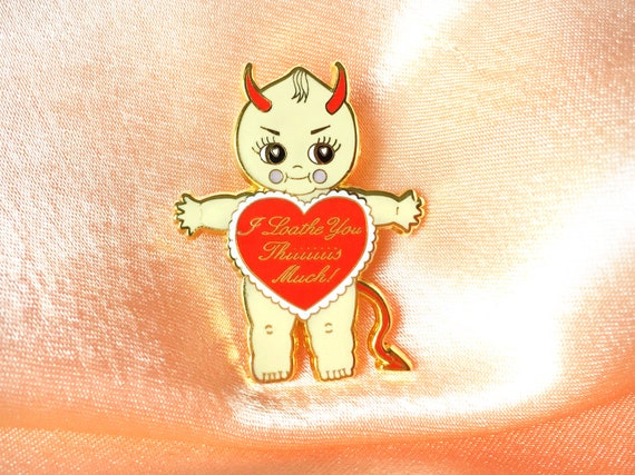 "Devilish Kewpie Doll 1.5"" Enamel Lapel Pin by Etsy"