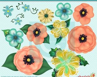 Aqua and Coral Flowers Clip Art, Floral Clipart, Clip Art, Digital Scrapbooking, Digitals, PNG Digital Files, 12 Floral Graphics, Botanicals