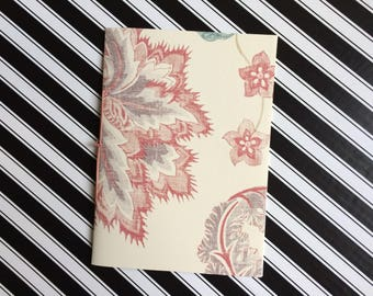 Hand Bound Blank A5 Exercise Book - Detailed Floral Cream and Purple Design with Pink Binding - 3 Hole Pamphlet Stitch - Recycled Wallpaper