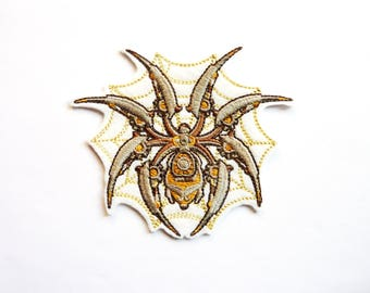 Applied fusible steampunk spider