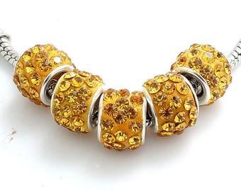 Gold Rhinestone Encrusted European Beads - 10 beads