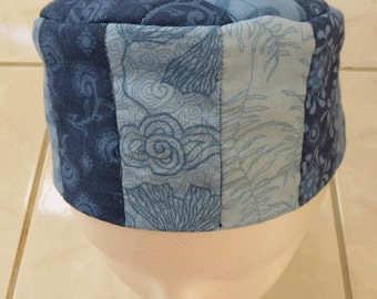 Adjustable Quilted Bukharan Pillbox Kippah Blue Cotton Prints