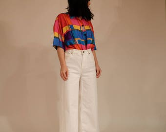 Pattered Silk Short Sleeve Button Up, S/M