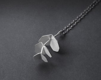 """18"""" Silver Chain Necklace, Flower Charm Necklace, Eucalyptus Leaf Chain Necklace, Silver Charm, Statement Silver Necklace, Botanical Jewelry"""